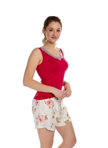 Pamuk & Pamuk Çiçek Desenli Dantelli Şortlu Kadın Pijama Takım Renkli